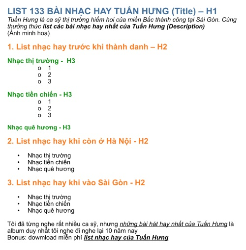 cấu trúc heading h1, h2, h3