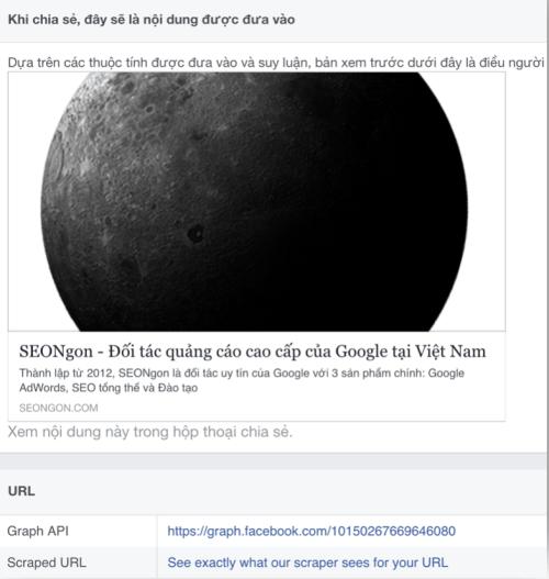 Kiểm tra ảnh Thumbnail khi share ảnh lên Facebook.